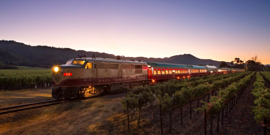 luxurious train driving through Napa Region