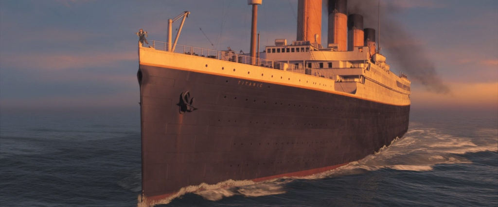 titanic on the ocean, an image from the movie