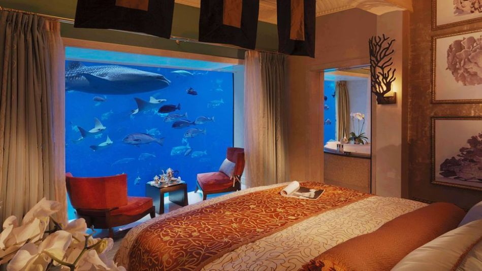 A distinctly fishy welcome awaits you when you awaken in Dubai's reimagining of the Lost City of Atlantis