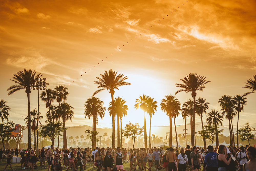 luxury festival Coachella, palms, sunset, fun, music