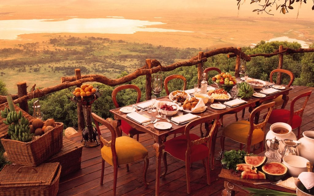 breakfast at safari lodge at Ngorongoro Crater in Tanzania