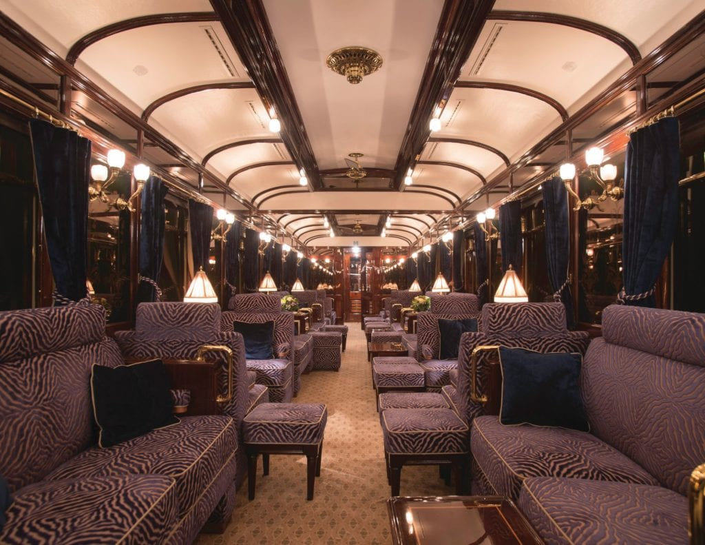 the Art Deco-inspired Bar at Venice-Simplon-Orient Express train