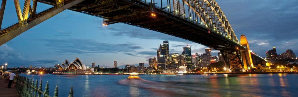 under the Sydney Harbour bridge during winter
