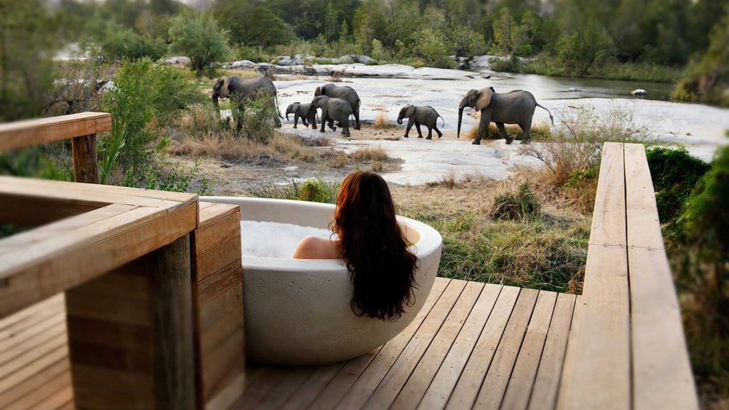 luxury bath at safari lodge in Africa
