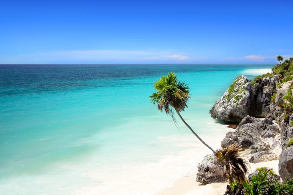 Tulum, Mexico, beach, paradise, palm, sea