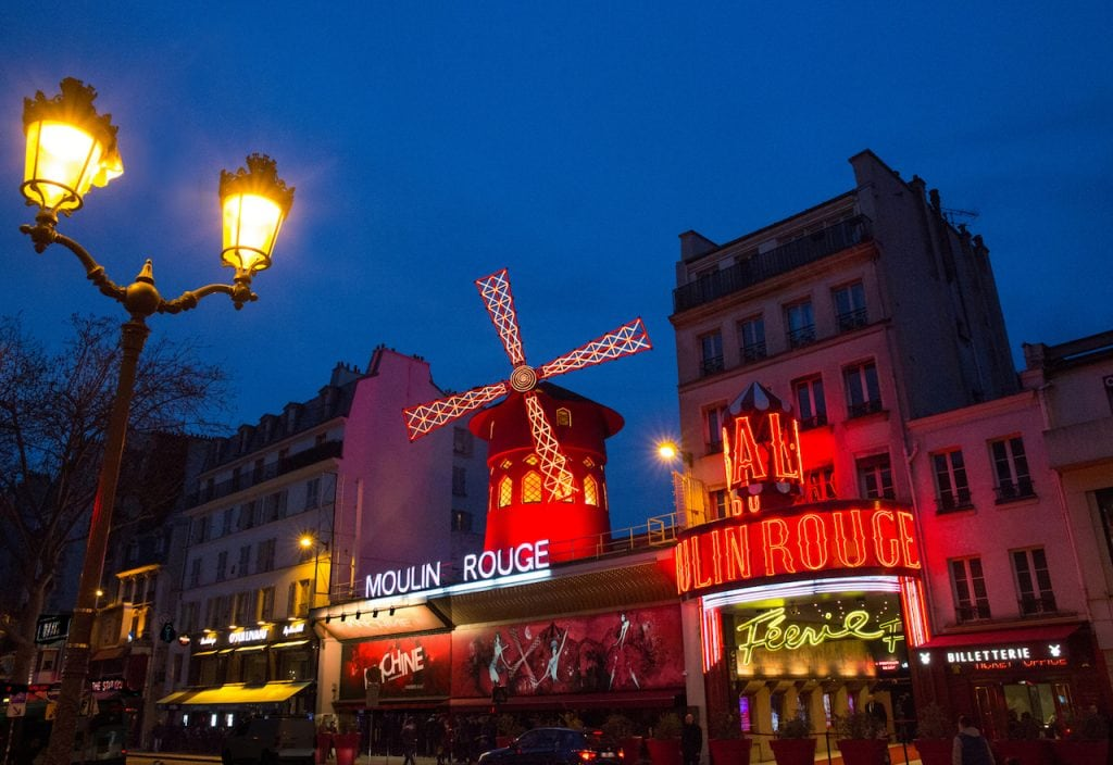 Outside the Moulin Rouge in Paris