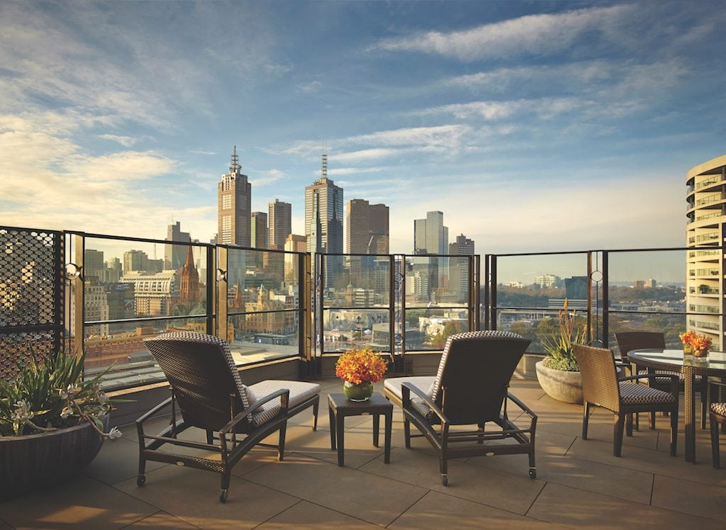 View from the rooftop at the Langham Melbourne
