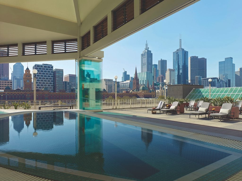 the Langham Melbourne rooftop pool