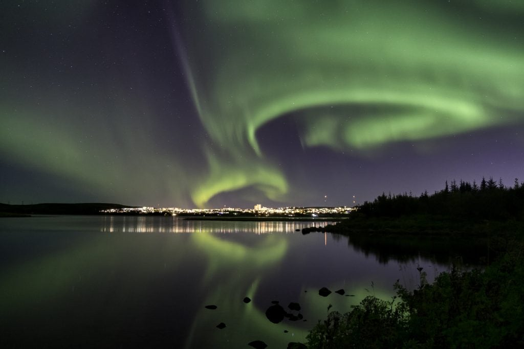 The Aurora Borealis close to Reykjavik, Iceland for a prefect New Year magic start